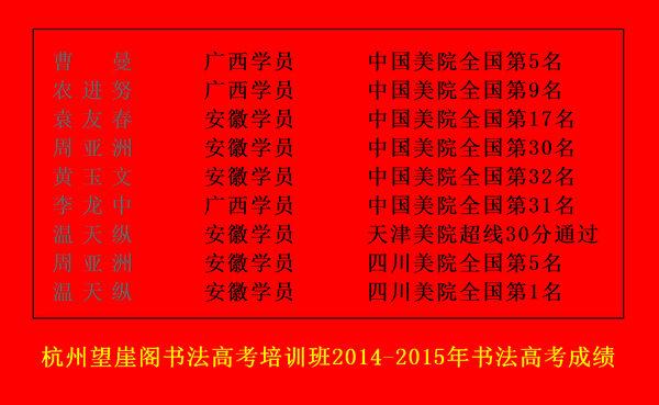 杭州望崖阁书法高考培训班2014-2015届学生书法高考成绩